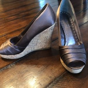 Like new Nordstrom boutique satin brown wedges sz8